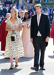 Lady Edwina Louise Grosvenor and Dan Snow (right) arrives at St George's Chapel at Windsor Castle for the wedding of Meghan Markle and Prince Harry.