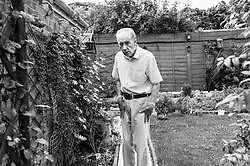 © Licensed to London News Pictures. 09/04/2014<br /> These photographs have been converted to black and white<br /> <br /> Durham, United Kingdom<br /> <br /> Parkinson's Disease sufferer David Forsyth from Brandon, County Durham walks around his garden at his home. A keen gardner it is becoming increasingly more difficult to carry out some of the most basic tasks in the garden.<br /> <br /> Parkinson's is a long-term neurological condition that affects the way the brain co-ordinates body movements including walking, talking and writing and affects both men and women.<br /> <br /> Photo credit : Ian Forsyth/LNP