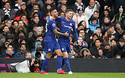 Chelsea's Jorginho (right) celebrates scoring his side's second goal of the game with team-mate Emerson Palmieri during the Premier League match at Craven Cottage, London.