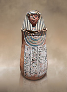 Ancient Egyptian Human headed canopic jar for Amenemheb, clay, New Kingdom, 19th Dynasty (1292-1190 BC), Deir el-Medina. Egyptian Museum, Turin. Old Fund cat 3471.<br /> <br /> The canopic jars were four in number, each for the safekeeping of particular human organs: the stomach, intestines, lungs, and liver, all of which, it was believed, would be needed in the afterlife. By the First Intermediate Period jars with human heads (assumed to represent the dead) began to appear .<br /> <br /> If you prefer to buy from our ALAMY PHOTO LIBRARY  Collection visit : https://www.alamy.com/portfolio/paul-williams-funkystock/ancient-egyptian-art-artefacts.html  . Type -   Turin   - into the LOWER SEARCH WITHIN GALLERY box. Refine search by adding background colour, subject etc<br /> <br /> Visit our ANCIENT WORLD PHOTO COLLECTIONS for more photos to download or buy as wall art prints https://funkystock.photoshelter.com/gallery-collection/Ancient-World-Art-Antiquities-Historic-Sites-Pictures-Images-of/C00006u26yqSkDOM