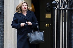London, UK. 29th January, 2019. Penny Mordaunt MP, Secretary of State for International Development, leaves 10 Downing Street following a Cabinet meeting on the day of votes in the House of Commons on amendments to Prime Minister Theresa May's final Brexit withdrawal agreement which could determine the content of the next stage of negotiations with the European Union.