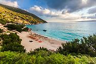 Remarkable beach on Kefalonia island at sunrise