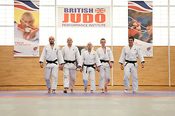 © London News Pictures. 23/08/2012. Dartford, Kent. Judo paralympians L to R - Sam Ingram, Joe Ingram, Ben Quilter, Marc Powell and Dan Powell photocall. Britain's leading judokas from ParalympicsGB in training at their national base in Dartford, Kent before competing in London2012. Picture credit should read Manu Palomeque/LNP