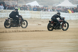 Atsushi Yasui and Mike Silvio battle it out on the sand at TROG West - The Race of Gentlemen. Pismo Beach, CA, USA. Saturday October 15, 2016. Photography ©2016 Michael Lichter.