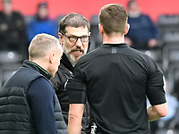 Football - 2019 / 2020 Sky Bet (EFL) Championship - Swansea City vs. West Bromwich Albion<br /> <br /> WBA manager Slaven Bilic talks with referee Mr Robert Jones on the touchline, at The Liberty Stadium.<br /> <br /> COLORSPORT/WINSTON BYNORTH