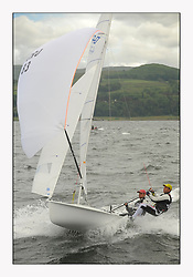 470 Class European Championships Largs - Day 3.Brighter conditions with more wind...CRO83, Sime FANTELA, Igor MARENIC .