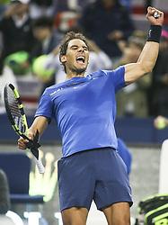 SHANGHAI, Oct. 13, 2017  Spain's Rafael Nadal celebrates after winning the singles quarterfinal match against Bulgaria's Grigor Dimitrov at 2017 ATP Shanghai Masters tennis tournament in Shanghai, east China, on Oct. 13, 2017. (Credit Image: © Fan Jun/Xinhua via ZUMA Wire)