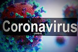 An illustrative model of the Coronavirus displayed on a monitor. Photo credit should read: James Warwick/EMPICS Entertainment