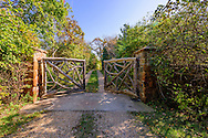 Gate to Andy Warhol's former home. Old Montauk Hwy, Montauk,  New York