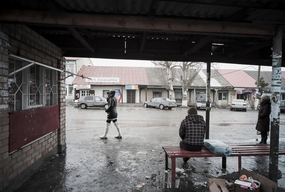 Bus stop, Karakol, Kyrgyzstan