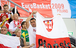 Fans of Poland during the EuroBasket 2009 Group F match between Poland and Serbia, on September 12, 2009 in Arena Lodz, Hala Sportowa, Lodz, Poland.  (Photo by Vid Ponikvar / Sportida)