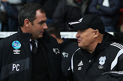 Derby County Manager Paul Clement (L) and Cardiff City Manager Russell Slade before the match - Mandatory byline: Jack Phillips / JMP - 07966386802 - 21/11/2015 - FOOTBALL - The iPro Stadium - Derby, Derbyshire - Derby County v Cardiff City - Sky Bet Championship