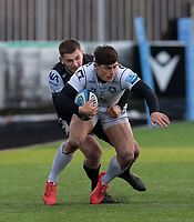 Rugby Union  - 2020 / 2021 Gallagher Premiership - Newcastle Falcons vs Gloucester - Kingston Park<br /> <br /> Lloyd Evans of Gloucester Rugby is tackled by Ben Stevenson of Newcastle Falcons<br /> <br /> COLORSPORT/BRUCE WHITE