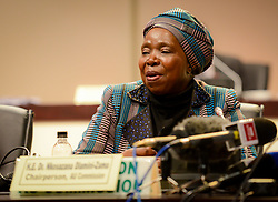 JOHANNESBURG, June 16, 2015  African Union (AU) Commission Chairwoman Nkosazana Dlamini-Zuma speaks during the final press conference of the 25th AU Summit in Johannesburg, South Africa, on June 15, 2015. The AU ended its 25th summit early Tuesday morning in Johannesburg, pledging to fulfill Agenda 2063, a blue print for future development of the continent. (Xinhua/Zhai Jianlan) (Credit Image: © Zhai Jianlan/Xinhua/ZUMA Wire)