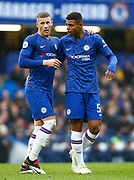 L-R Chelsea's Ross Barkley and Chelsea's Faustino Anjorin  during an English Premier League soccer match between Chelsea and Everton at Stamford Bridge stadium, Sunday, March 8, 2020, in London, United Kingdom. Chelsea defeated Everton 4-0. (Mitchell Gunn-ESPA Images/Image of Sport via AP)