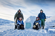 Charlotte Crosby TLC Travel show Day two of the Igloolik Expedition. L-r Alvin, Joey, Moses, Solomon