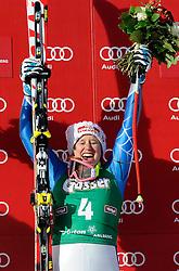 12. 01. 20 1 3, Karl Schranz Abfahrt, St. Anton, AUT, FIS Weltcup Ski Alpin, Abfahrt, Damen im Bild Alice McKennis (USA) jubelt bei der Siegerehrung // during ladies Downhill of the FIS Ski Alpine World Cup at the Karl Schranz course, St. Anton, Austria on 2013/01/12. EXPA Pictures © 2013, PhotoCredit: EXPA/ Eibner/ Kopatsch ***** ATTENTION - OUT OF GER *****