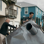 Drew Scott films an outdoor scene during a production day for the HGTV show, Brother vs Brother, Wednesday, February 15, 2017 in Galveston, Texas. Season five of the show which features The Property Brothers, Jonathan and Drew Scott, airs later this year.<br /> <br /> Todd Spoth for The New York Times.