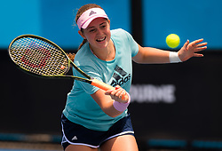 January 12, 2019 - Melbourne, AUSTRALIA - Jelena Ostapenko of Latvia practices ahead of the 2019 Australian Open Grand Slam tennis tournament (Credit Image: © AFP7 via ZUMA Wire)