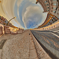 Comércio Plaza (Praça do Comércio). Tunnel View (270 degree). Composite of 31 images taken with a Nikon D850 camera and 8-15 mm fisheye lens (ISO 200, 15 mm, f/11, 1/60 sec). Raw images processed with Capture One Pro and Auto Pano Giga.