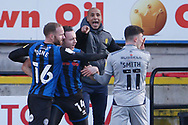 Jonny Smith of Burton Albion  goes to ground after an altercation with Ollie Rathbone of Rochdale   during the EFL Sky Bet League 1 match between Rochdale and Burton Albion at the Crown Oil Arena, Rochdale, England on 27 February 2021.