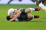 Phil Jones of Manchester United lies injured after being fouled by Sofiane Feghouli of West Ham United who got a red card. Premier league match, West Ham Utd v Manchester Utd at the London Stadium, Queen Elizabeth Olympic Park in London on Monday 2nd January 2017.<br /> pic by John Patrick Fletcher, Andrew Orchard sports photography.