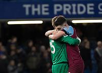 Football - 2019 / 2020 Premier League - Chelsea vs. West Ham United<br /> <br /> Declan Rice (West Ham United) hugs David Martin (West Ham United) after his performance at Stamford Bridge <br /> <br /> COLORSPORT/DANIEL BEARHAM