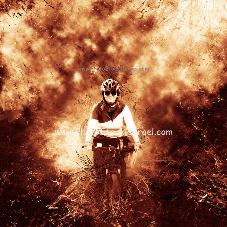 Digitally enhanced image of a female cyclist biking in a pine forest