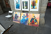 Traditional style artwork painting on sale in street, Madrid city centre, Spain