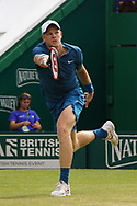 Kyle Edmund (GBR) Vs Mikhail Kukushkin (KAZ)  Action at the Nature Valley International at Devonshire Park, Eastbourne, United Kingdom on 28th June 2018. Picture by Jonathan Dunville.
