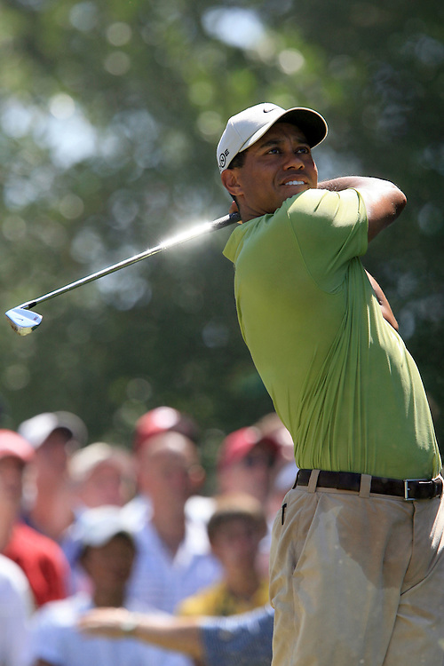 11 August 2007: Tiger Wood drives off the 7th tee during the third round of the 89th PGA Championship at Southern Hills Country Club in Tulsa, OK.