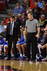 14 November 2016: Jon Coffman, Mastadons Head Coach and Brad Gaston during an NCAA  mens basketball game between the Indiana Purdue Fort Wayne Mastodons the Illinois State Redbirds in Redbird Arena, Normal IL