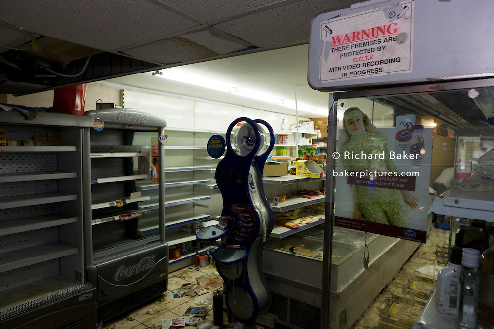 Damage to the Clarence Road Convenience Store belonging to Sri Lankan-born Sivaharan (Siva) Kandiah after the riots of London and other UK cities.