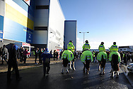 Police on horseback keep an eye on the protest by Cardiff city fans. the fans are protesting against Cardiff city owner Vincent Tan. Barclays Premier league, Cardiff city v Southampton at the Cardiff city Stadium in Cardiff,  South Wales on Boxing day, Thursday 26th Dec 2013. <br /> pic by Andrew Orchard, Andrew Orchard sports photography.