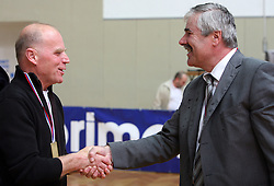 Herman Rigelnik, general manager of Autocommerce and Joze Funda, president of OK Salonit Anhovo and general manager of Salonit Anhovo at 4th and final match of Slovenian Voleyball  Championship  between OK Salonit Anhovo (Kanal) and ACH Volley (from Bled), on April 23, 2008, in Kanal, Slovenia. The match was won by ACH Volley (3:1) and it became Slovenian Championship Winner. (Photo by Vid Ponikvar / Sportal Images)/ Sportida)