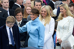 Melamia Trump ,son Barron and Tiffany Trump and Ivanka Trump attend the 58th Presidential Inauguration on January 20, 2017 in Washington, DC..Photo by Olivier Douliery/Abaca