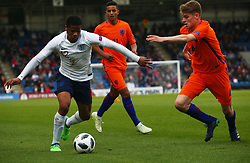 May 17, 2018 - United Kingdom - L-R Vontae Daley-Campbell of England Under 17  and Ramon Hendriks of Netherlands Under 17 .during the UEFA Under-17 Championship Semi-Final match between England U17s against Netherlands U17s at Proact Stadium,  .Chesterfield FC, England on 17 May 2018. (Credit Image: © Kieran Galvin/NurPhoto via ZUMA Press)