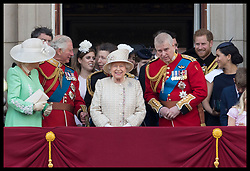 June 8, 2019 - London, London, United Kingdom - Image licensed to i-Images Picture Agency. 08/06/2019. London, United Kingdom. Queen Elizabeth II and members of the Royal family on the balcony of Buckingham Palace at Trooping the Colour in London. (Credit Image: © Stephen Lock/i-Images via ZUMA Press)