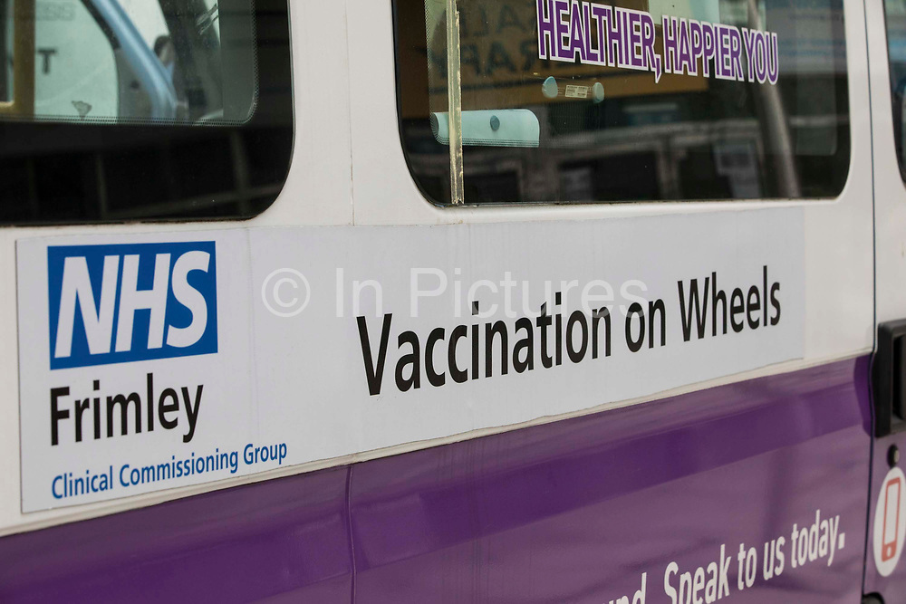 A NHS-Solutions4Health mobile vaccination unit is pictured outside the Queensmere shopping centre on 10th July 2021 in Slough, United Kingdom. Slough Borough Council's health partners have launched Covid vaccination sessions for anyone living or working in Slough who is over 18 years of age, as well as second doses for those for whom eight weeks have elapsed since a first dose.