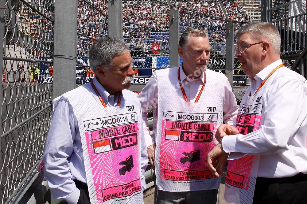 Chaes Carey, Sean Bratches and Ross Brawn (Liberty Media/FOM) at the 2017 Monaco Grand Prix in Monte Carlo. Photo: Grand Prix Photo