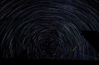 Startrail Looking North. Composite of images (00:20-01:19) taken with a Nikon D850 camera and 19 mm f/4 PC-E lens (ISO 200, 19 mm, f/4, 30 sec). Raw images processed with Capture One Pro and the composite created using Photoshop CC (scripts, statistics, maximum).