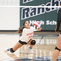 Pine Hill's Cheyanne Harrison (10) reaches for the ball in their match against Tatum Thursday evening at Rio Rancho High School in the NMAA Class 1A State Volleyball tournament in Rio Rancho.