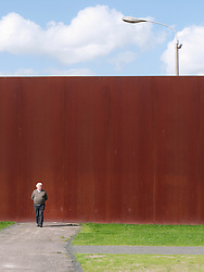 View of new Berlin Wall Memorial where  Death Strip has been recreated at Bernauer Strasse in Berlin