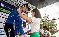 Aleksandr Vlasov (RUS) of Gazprom - Rusvelo celebrates in blue jersey as best in mountain classification at trophy ceremony after the 4th Stage of 26th Tour of Slovenia 2019 cycling race between Nova Gorica and Ajdovscina (153,9 km), on June 22, 2019 in Slovenia. Photo by Vid Ponikvar / Sportida