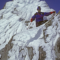 CORD.SARMIENTO EXP., Rob Hart descends rime plastered peak above highest icecap (MR)