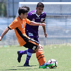 BRISBANE, AUSTRALIA - JANUARY 8: Joe Caletti of the Roar passes the ball during the round 8 Foxtel National Youth League match between the Brisbane Roar and Perth Glory at AJ Kelly Field on January 8, 2017 in Brisbane, Australia. (Photo by Patrick Kearney/Brisbane Roar)