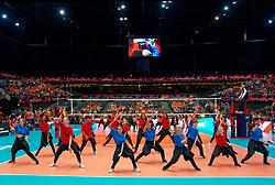 13-09-2019 NED: EC Volleyball 2019 Netherlands - Montenegro, Rotterdam<br /> First round group D Netherlands win 3-0 / Dance entertainment