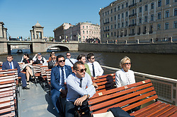 Brigitte Macron visiting the town with a riverboat in Saint Petersburg,Russia on may 25, 2018. Photo by Jacques Witt/pool / ABACAPRESS.COM