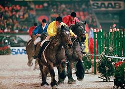 Boerenpaarden race, Philippaerts Ludo, Van de Craen Lieven, Philippaerts Johan<br /> Jumping Mechelen 1998<br /> © Hippo Foto - Dirk Caremans<br /> 03/12/2020