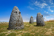 Picture and image of the prehistoric nuragic conical stone betyls representing female fertility with 2 small carved breasts, probably nuragic sacred stones, The Prehistoric Nuragic Complex of Tamuli, Macomer, Sardinia. .<br /> <br /> Visit our PREHISTORY PHOTO COLLECTIONS for more   photos  to download or buy as prints https://funkystock.photoshelter.com/gallery-collection/Prehistoric-Neolithic-Sites-Art-Artefacts-Pictures-Photos/C0000tfxw63zrUT4<br /> If you prefer to buy from our ALAMY PHOTO LIBRARY  Collection visit : https://www.alamy.com/portfolio/paul-williams-funkystock/tamuli-standing-stones-sardinia.html
